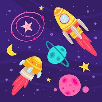 Przestrzeń płaska ilustracja, zestaw elementów, naklejki, ikony. na białym tle. rakieta, statek kosmiczny obcych, planeta, gwiazda, księżyc, konstelacja, sonda kosmiczna, galaktyka, nauka. futurystyczny. karta.