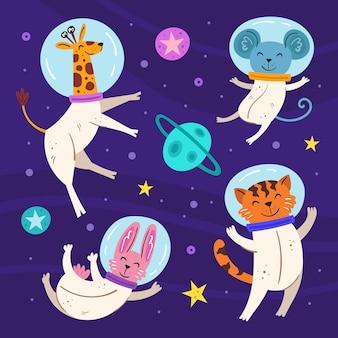 Przestrzeń płaska ilustracja. żyrafa, królik, tygrys i mysz w kombinezonach kosmicznych