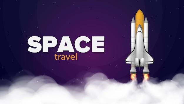 Przestrzeń podróżna. fioletowy baner na temat lotów kosmicznych. prom kosmiczny.
