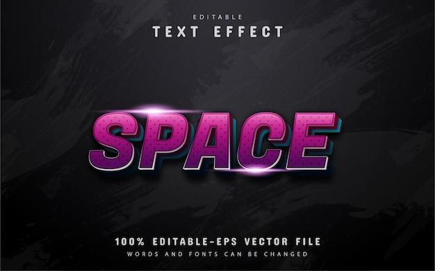 Przestrzeń tekstu, efekt tekstowy w stylu 3d fioletowy gradient