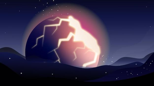 Przestrzeń tematu przestrzeń tło planeta eksplozja apokalipsa armageddon