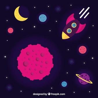Przestrzeń tła z rakiet i planet