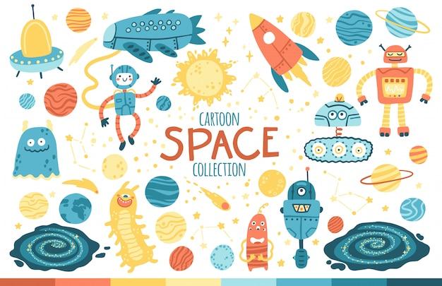 Przestrzeń wektor zestaw. galaktyka, planety, roboty i kosmici. dziecinna kolekcja ręcznie rysowanych przedmiotów z kreskówek w prostym skandynawskim stylu.