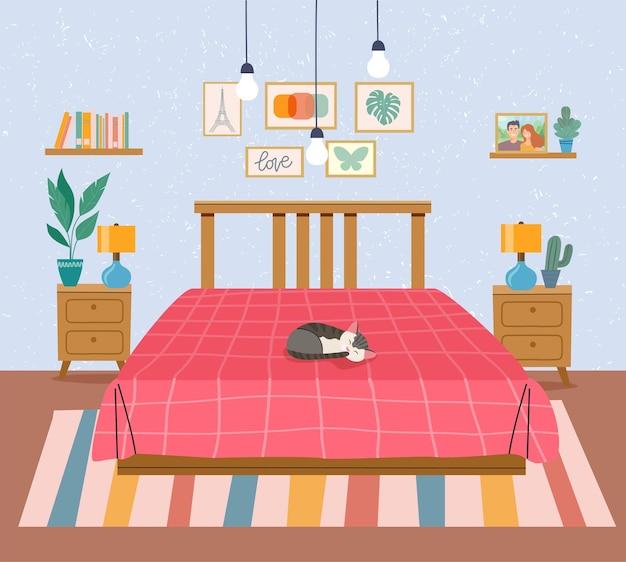 Przestrzeń wewnętrzna sypialni. płaskie ilustracji wektorowych
