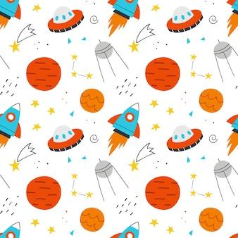 Przestrzeń wzór dla dzieci. ręcznie rysowane tła wektor ładny rakiet, planet, gwiazd i ufo.
