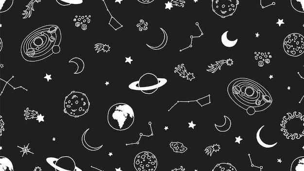 Przestrzeń wzór. księżycowe planety gwiazd. galaxy bez szwu, doodle tło wszechświata. przestrzeń galaktyki, wszechświat bazgroły astronomii