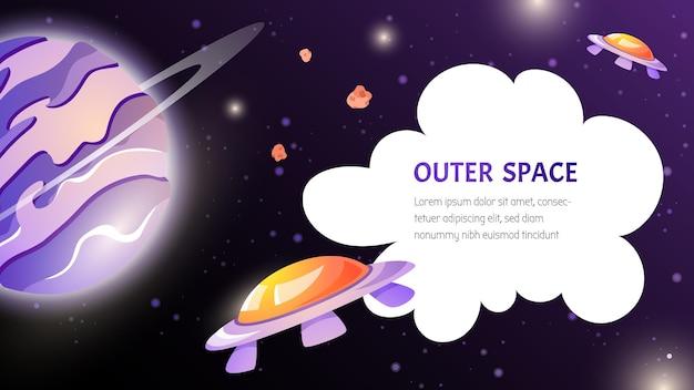 Przestrzeń z planetą, statkiem kosmicznym ufo i ilustracją kreskówki w chmurze w stylu gry