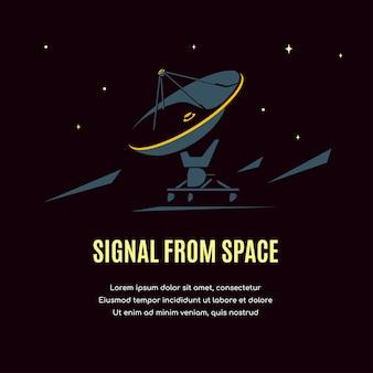 Przestrzeń z radioteleskopem. baner badań kosmicznych, eksploracja kosmosu.