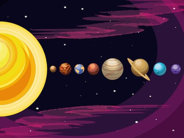 Przestrzeń z zestawem scen wszechświata planet