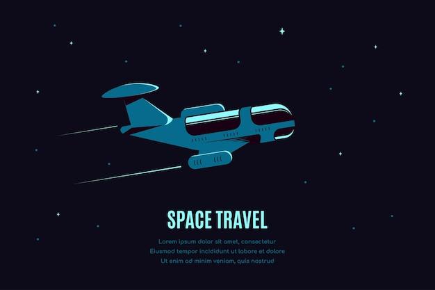 Przestrzeń ze statkiem kosmicznym. baner podróży kosmicznych, eksploracja zewnętrznej przestrzeni.