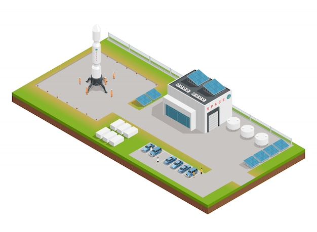 Przestrzenna izometryczna kompozycja przestrzenna budynku, zajmująca się obsługą i budową