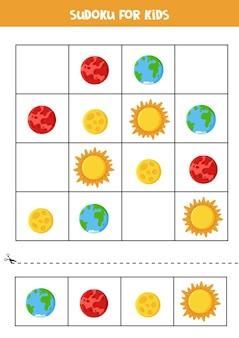 Przestrzenne sudoku dla dzieci w wieku przedszkolnym. gra logiczna z planetami.