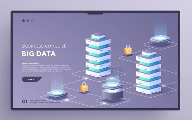 Przesuń stronę bohatera lub baner technologii cyfrowej big data koncepcja biznesowa wektor izometryczny