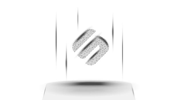 Przesuń symbol tokena sxp systemu defi nad cokół na białym tle. ikona logo kryptowaluty. zdecentralizowane programy finansowe. ilustracja wektorowa na stronie internetowej lub baner.