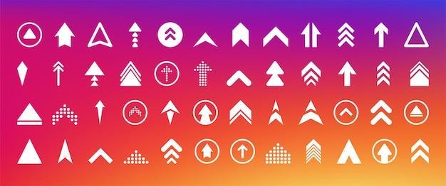 Przesuń w górę duże ikony kolekcji w innym stylu na gradientowym tle. ilustracja wektorowa.