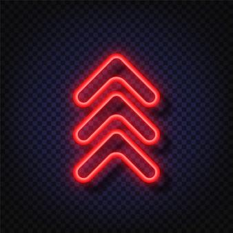 Przesuń w górę neonu. świecące wskaźnik strzałki neon na białym tle. realistyczna świecąca jasna neonowa strzałka. przycisk do mediów społecznościowych