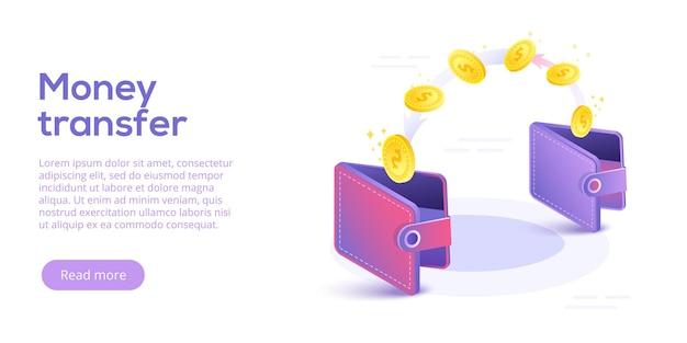 Przesyłanie pieniędzy zi do portfela w wersji izometrycznej. przepływ kapitału, zarabianie lub zarabianie pieniędzy. oszczędności finansowe lub koncepcja gospodarki.