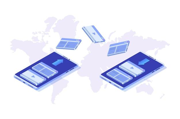Przesyłanie plików na koncepcji izometrycznej smartfona. synchronizacja, technologia chmury.