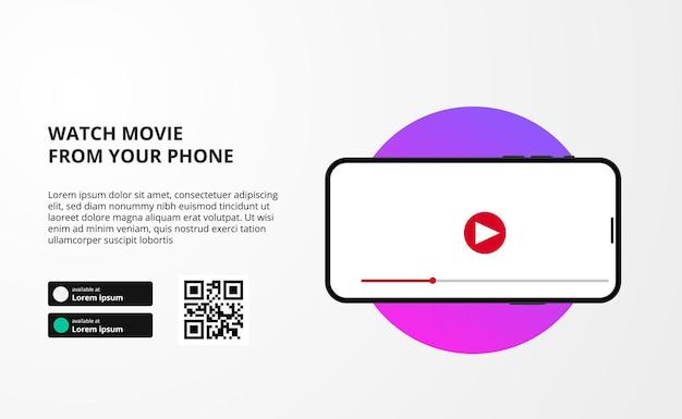 Przesyłanie strumieniowe banera online z wyświetlacza wideo na ekranie telefonu aplikacji