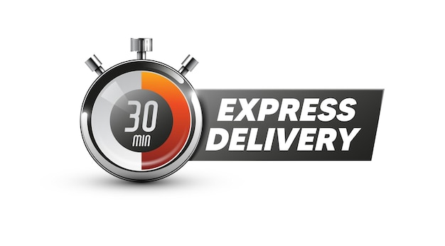 Przesyłka ekspresowa. ikona zegara. ilustracja wektorowa