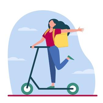 Przesyłka kurierska. szczęśliwa młoda kobieta z plecakiem w kształcie pudełka, jazda na skuter płaski wektor ilustracja. dostawa żywności, obsługa, transport