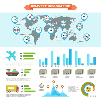 Przesyłka logistyczna dostawy i infografika ładowanie ładunku