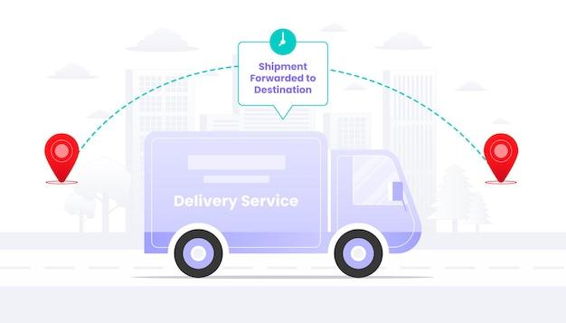 Przesyłka przekazana do miejsca przeznaczenia w drodze ilustracja.