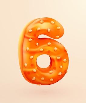 Przeszklona czcionka pączek numer sześć w stylu deseru ciasto kolekcja smacznych numerów piekarni z ilustracją koncepcji rocznicy kremu i urodzin