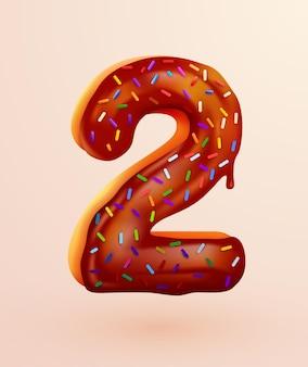 Przeszklona czcionka pączka numer dwa w stylu deseru ciasto kolekcja smacznych numerów piekarni z ilustracją koncepcji rocznicy kremu i urodzin
