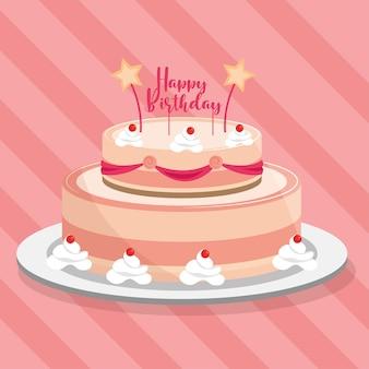 Przeszklony tort urodzinowy ze świecami i ilustracją napisu
