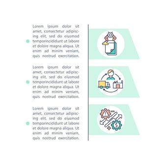 Przetwarza ikona koncepcji rightsizing z tekstem. tworzenie elastycznej strategii pracy dla firmy. szablon strony ppt.