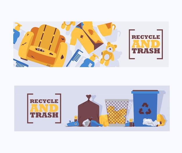 Przetwarza odpady i śmieci pojęcia sztandarów wektoru ilustrację. odpady śmieci zaśmiecone nieprawidłowo wokół niebieskiego plastikowego pojemnika na śmieci. kosz na śmieci z recyklingu. śmieci na ziemi