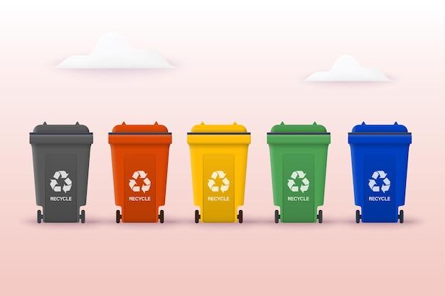 Przetwarzaj, aby chronić ziemię i zachować plastik środowiska może być użyty do szablonów ilustracje 3d