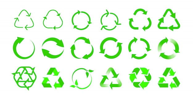 Przetwarzaj ikony bio ponownie wykorzystaj szablony etykiet opakowań. zielona strzałka recyklingu ekologicznego w zielony trójkąt