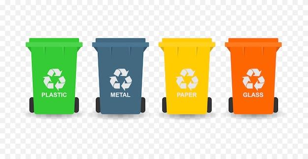 Przetwarzaj kosze na śmieci. koncepcja separacji.