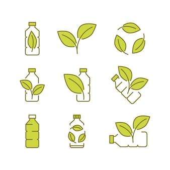 Przetwarzaj plastikową butelkę biodegradowalne ikony ikony plastikowej butelki z zielonymi liśćmi