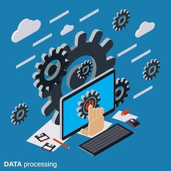 Przetwarzanie danych, ilustracja cloud computing płaski izometryczny wektor