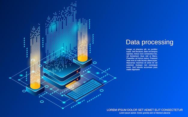 Przetwarzanie danych płaski 3d izometryczny ilustracja koncepcja wektorowa