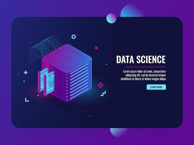 Przetwarzanie danych, serwerownia, baza danych i ikona centrum danych, system vpn