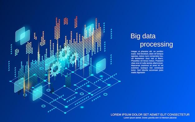 Przetwarzanie dużych danych płaski 3d izometryczny ilustracja koncepcja wektorowa