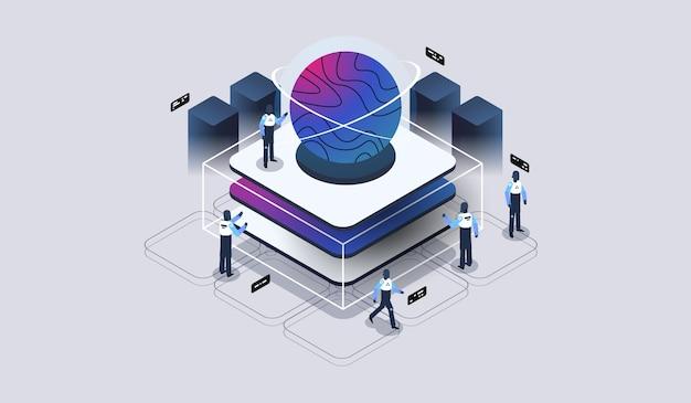Przetwarzanie dużych zbiorów danych, magazyn data center, data science, serwerownia. wizualizacja techniczna. nowoczesna ilustracja izometryczna.