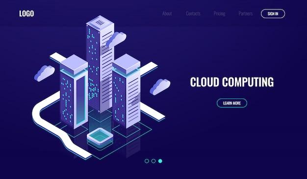 Przetwarzanie w chmurze, koncepcja izometryczna przechowywania danych w chmurze, nowoczesne cyfrowe miasto miejskie, droga danych