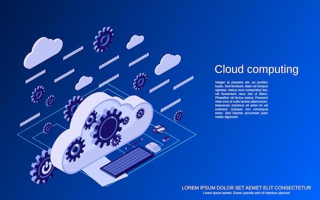 Przetwarzanie w chmurze, sieć, ilustracja koncepcja płaskiego izometrycznego przetwarzania danych