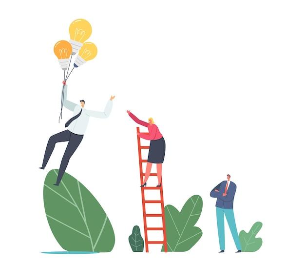 Przewagi konkurencyjne. biznes kobieta charakter wspinaczka drabiny chase biznesmen pływające na żarówki balony w niebo. pracownik z kreatywnym pomysłem leci do sukcesu. ilustracja wektorowa kreskówka ludzie