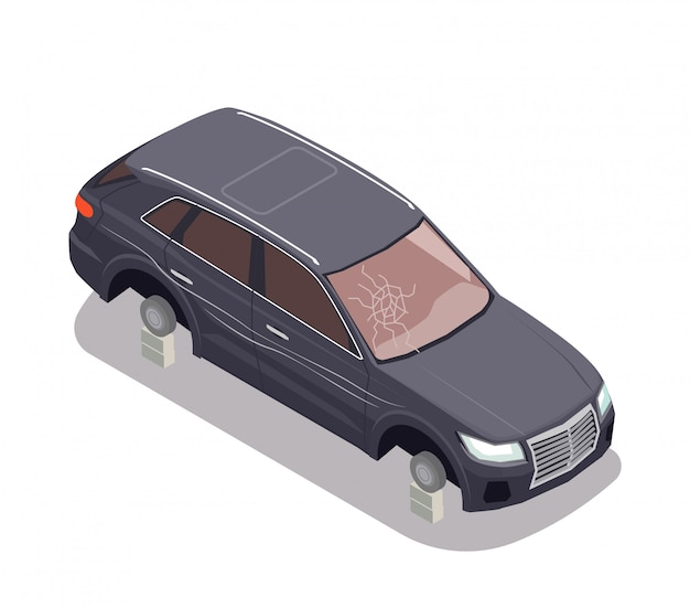 Przewieziony skład z czarnym samochodem bez opon i z łamanym wiatrowym ekranem na białym tle 3d isometric