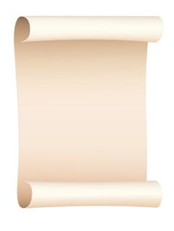 Przewijany stary arkusz papieru na białym tle. ilustracji wektorowych.