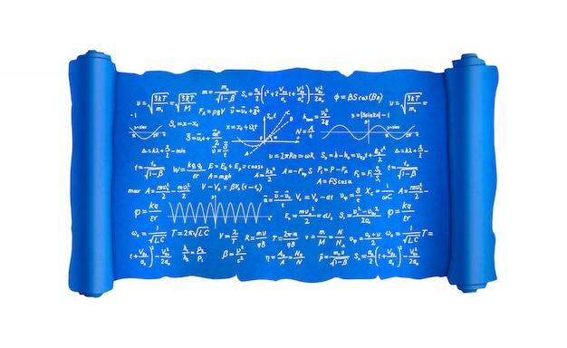 Przewiń z wieloma ręcznie rysowanymi skomplikowanymi formułami naukowymi i obliczeniami, plan projektu na białym