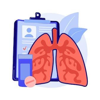 Przewlekła obturacyjna choroba płuc streszczenie koncepcja ilustracji wektorowych. obturacyjna choroba płuc, przewlekłe zapalenie oskrzeli, rozedma płuc, leczenie pochp, duszność abstrakcyjna metafora.
