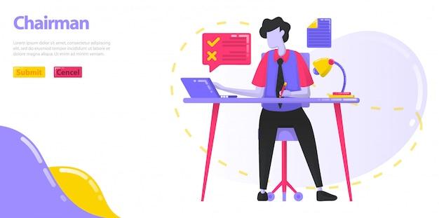 Przewodniczący ilustracji. ceo, który pracuje przy biurku. mężczyźni, którzy zarządzają pracą i działaniami firmy.