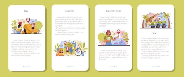 Przewodnik po ekspedycji zestaw banerów aplikacji mobilnej turyści wędrówki